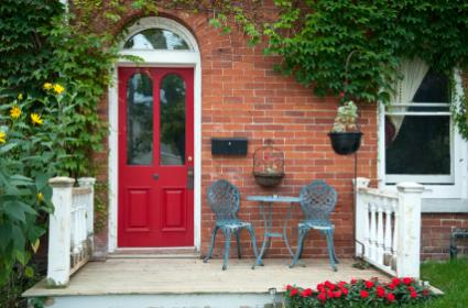 red front door area