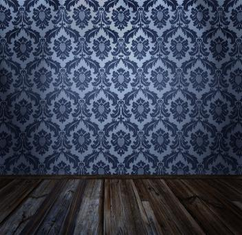 traditional style wallpaper with rustic wood floor