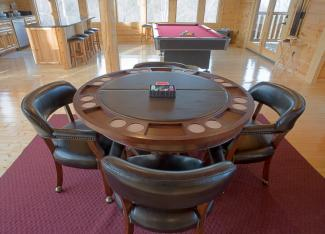poker table in game room