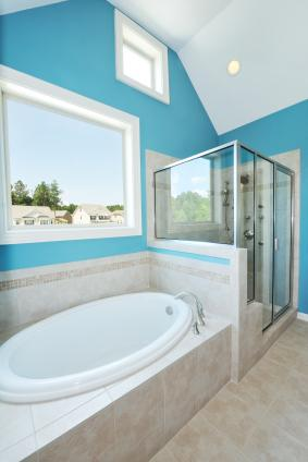 Bright Blue And White Bathroom