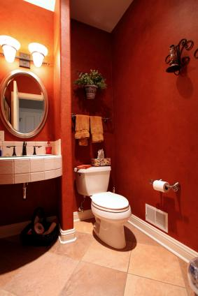 Dark Colors Dramatic Red Bathroom