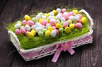 Easter eggs in a basket as a center piece