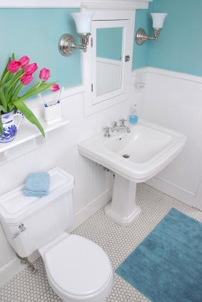 small blue bathroom