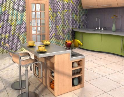 Tile mural in a kitchen