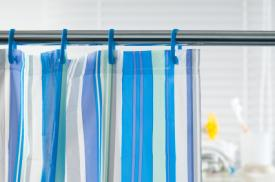 Straight shower rod and curtain