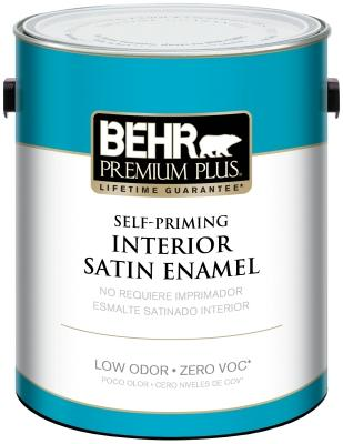 Behr Interior Satin Enamel Paint can