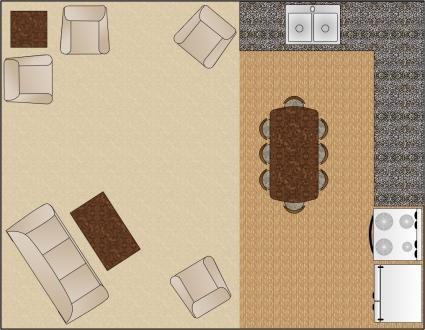 living room arrangement on the diagonal