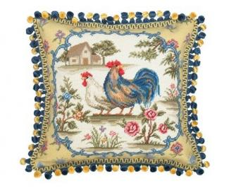 yellow and blue rooster needlepoint pillow