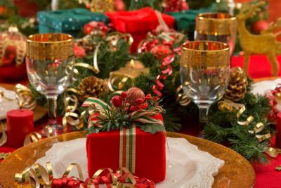 Traditional Christmas dinner setting