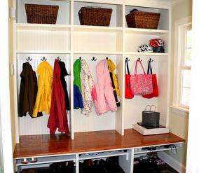 Mud room for children photo courtesy of Bright Bold and Beautiful