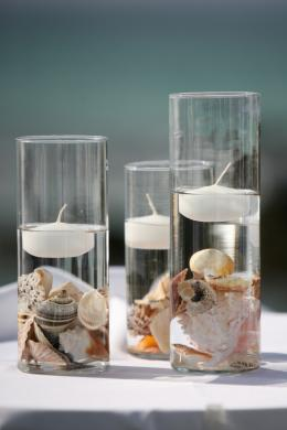 seashells and floating candles