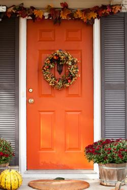 Front door with Autumn decorations
