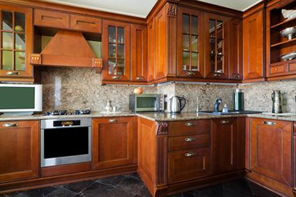 Wooden kitchen cabinets with glass fronts
