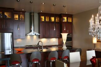 Kitchen cabinets with glass fronts near top