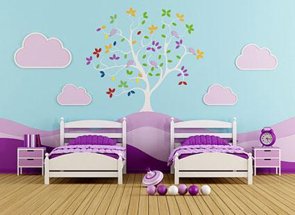 Peel and stick tree in girl's bedroom