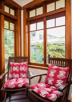Chairs in reading corner of 1920s bungalow