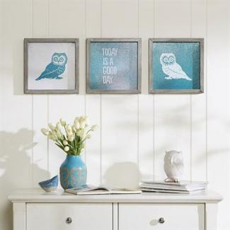 Intelligent Design Wise As An Owl Framed Gel Coat 3 Piece Set