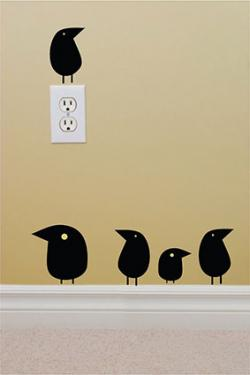 Set of 5 bird wall decals