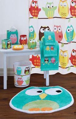 Owl themed bathroom decor set