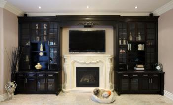 built-in cabinets surround TV