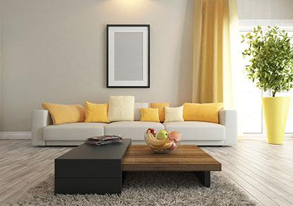pop of color in the living room