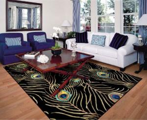 KAS Rugs Catalina Black Peacock Feathers Rug