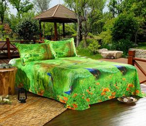 Green and Blue Peacock Bedding Set