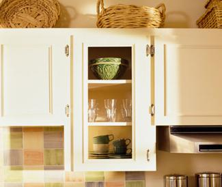 Baskets on kitchen cabinets