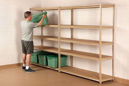 freestanding basement shelves