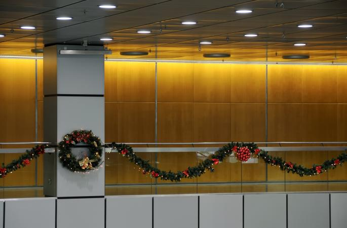 Christmas wreath and garland office decorations