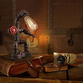 Rust Iron Robot Plumbing Pipe Desk Table Lamp