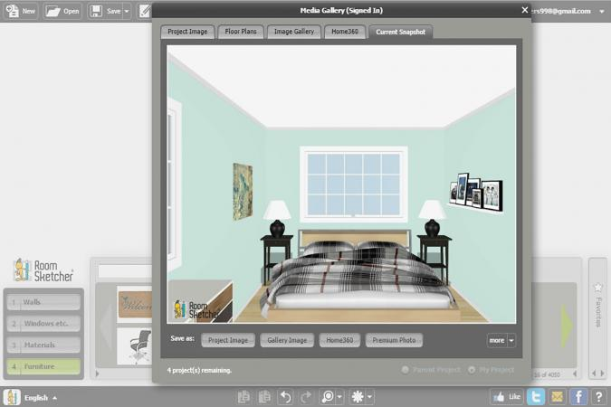 Screenshot of Room Sketcher bedroom