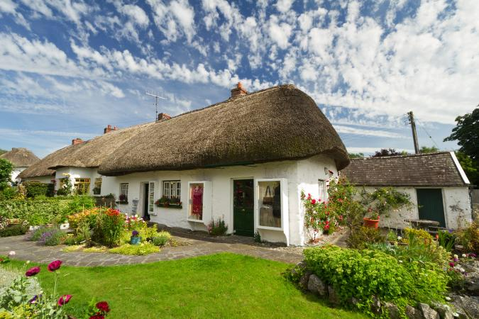 Irish cottage with thatched roof