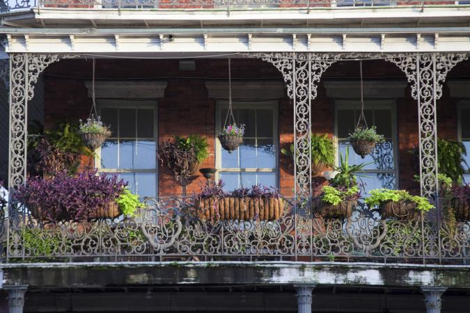 Classic French balconies with flowers
