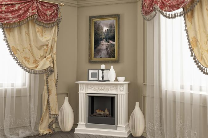 classic corner fireplace
