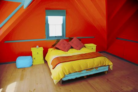 colorful sunset inspired bedroom