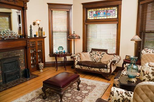 Victorian living room with stained glass