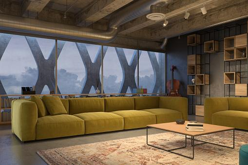 industrial chic living room