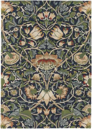 William Morris Rug in Navy and Dark Green