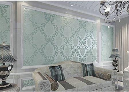 Glitter metallic damask wallpaper