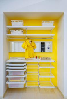 Yellow walk-in closet