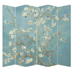 Blue and white folding screen