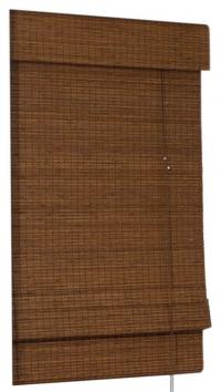 Brown retractable bamboo Roman shades