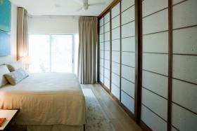 Asian-inspired shoji screen room divider