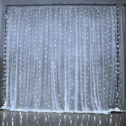 White fairy string curtain lights