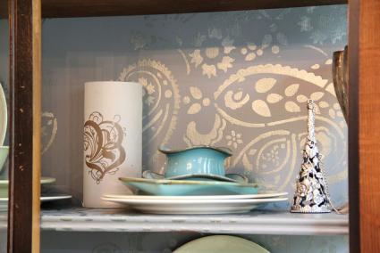 Stenciled wall in china cabinet