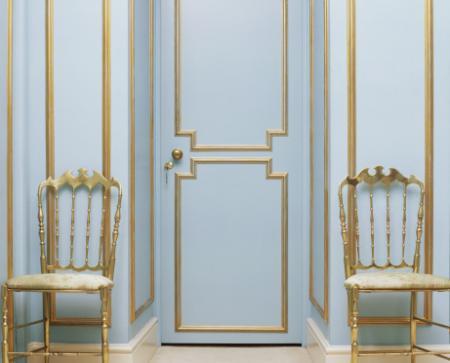 Blue Door with Gold Trim design