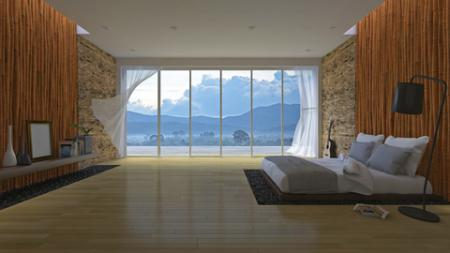 Bedroom with bamboo wall