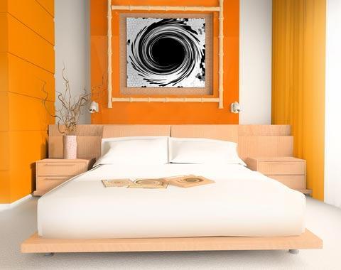 Orange color blocked bedroom