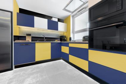 Color block interior design kitchen